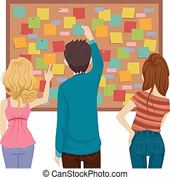 notas, tábua, adolescentes, ilustração, postando