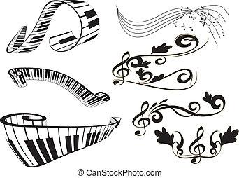 notas, tecla piano, teclado