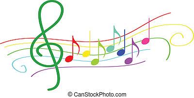notas, travesaño, musical, colorido