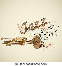 notas, trompeta, plano de fondo