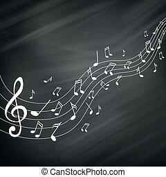 notas, vector, música