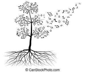 notas, vetorial, árvore, musical