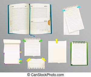 notas, vetorial, diário, mensagem, ilustração