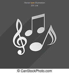 notas, vetorial, música, ícone