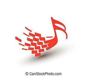 notas, vetorial, música, 3d