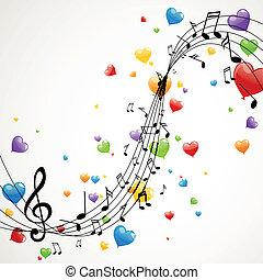 notas, vetorial, música