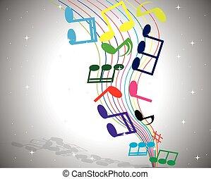 notas, vetorial, música, fundo, abstratos