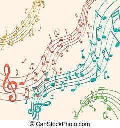 notas, vetorial, música, fundo, coloridos