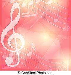 notas, -, vetorial, música, fundo, vermelho