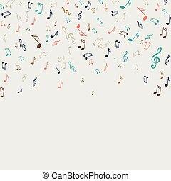 notas, vetorial, música, fundo
