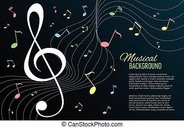 notas, vetorial, música, key., fundo