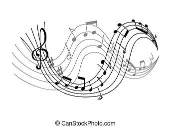 notas, vetorial, música, ondas