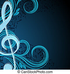 notas, vetorial, musical, fundo