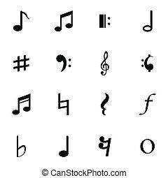 notas, vetorial, pretas, jogo, ícones