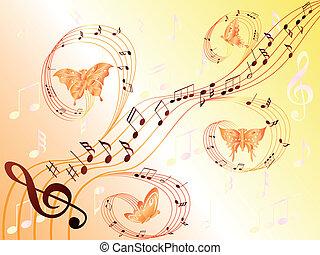 notas, voando, aduela, borboletas, musical