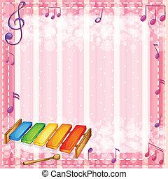 notas, xilofone, musical, coloridos
