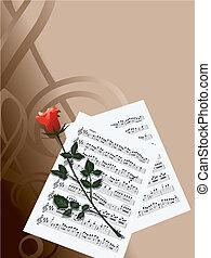 notas, y, rosa