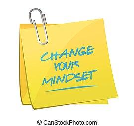 notatka, twój, zmiana, mindset