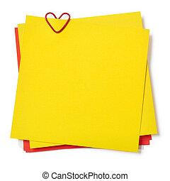 notatki, żółty, czerwony, lepki