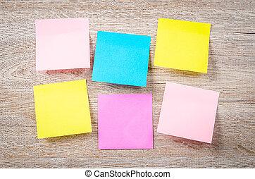 notatki, czysty, barwny, lepki