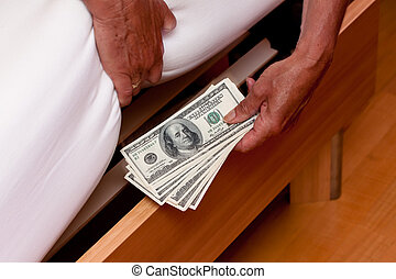 notatki, dolar, łóżko, waluta, pod, ukryty