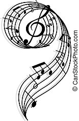 notatki, elementy, klucz, muzyczny, kędzierzawy