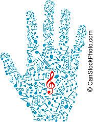 notatki, elementy, muzyczny, ludzka ręka