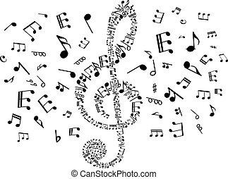 notatki, klucz, muzyczny