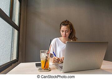 notatki, kobieta, młody, biuro, pisanie