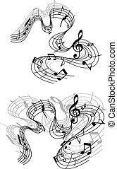 notatki, muzyczny, compositions