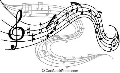 notatki, muzyczny, fale