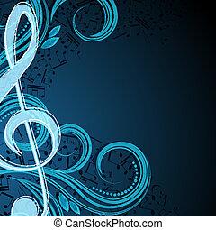 notatki, muzyczny, wektor, tło
