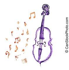 notatki, muzyczny, wiolonczela