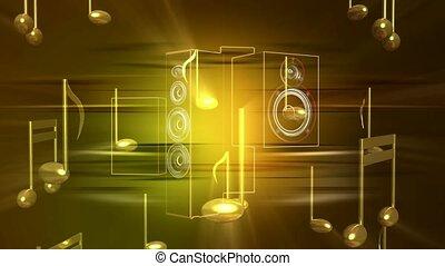 notatki, muzyczny, złoty