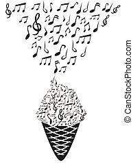 notatki, muzyka, lód krem