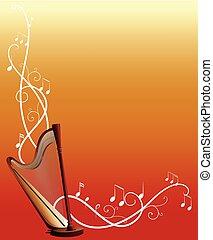 notatki, muzyka, szablon, tło, harfa