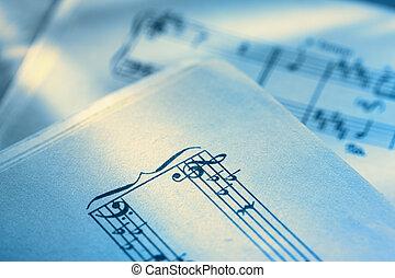 notatki, papier, muzyka, klasyczny