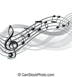 notatki, personel, white., tło, muzyczny