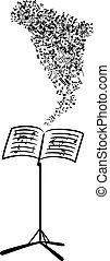 notatki, przelotny, pulpit, muzyczny