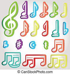 notatki, różny, muzyczny