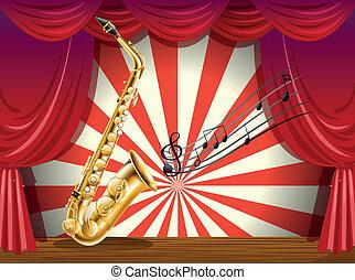 notatki, saksofon, muzyczny, rusztowanie