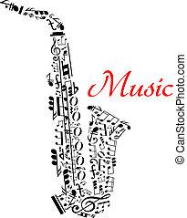 notatki, saksofon, muzyczny