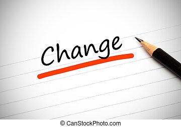 notatnik, pisemny, zmiana