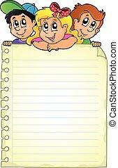 notatnik, strona, dzieci