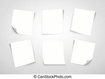notatnik., to, papier, note., poczta, biały
