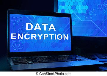 notatnik, z, słówko, dane, encryption
