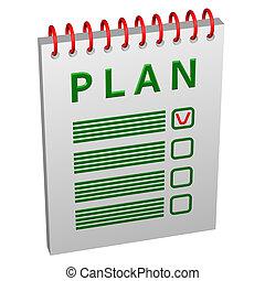 notatnik, z, słowo, plan