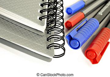 note, école, stylos, -, dos, clips, livres, prêt, ...