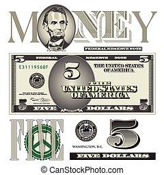 note, éléments, dollar, cinq