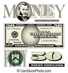 note, éléments, dollar, cinquante